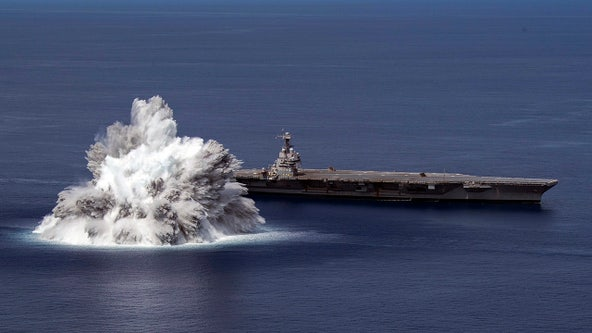 Navy tests newest carrier with giant explosion off Florida coast