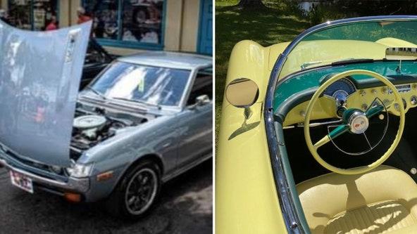 1974 Toyota Celica and 1955 Corvette