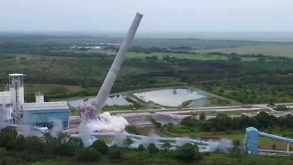 Florida Power & Light topples 495-foot chimney stack to make way for solar energy center