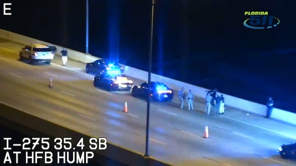 Suspect sought after 2 motorcyclists shot by passing car on Howard Frankland Bridge