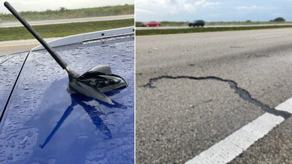 Lightning strikes SUV's antenna on I-75 in South Florida, leaves 7-foot gash in pavement