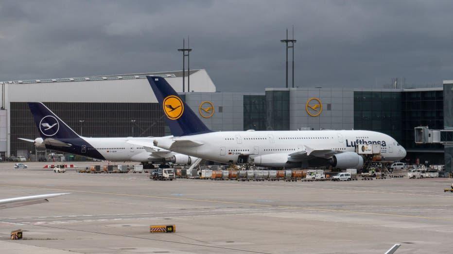 Lufthansa Airbus A380 In Frankfurt