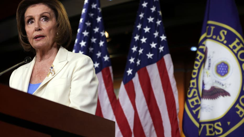 Speaker Pelosi Holds Weekly Press Conference On Capitol Hill