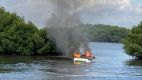 CFR: 2 injured after jumping from burning boat on Tampa Bay