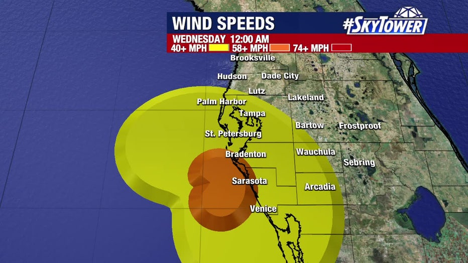 Elsa wind forecast: Wednesday 12 a.m.