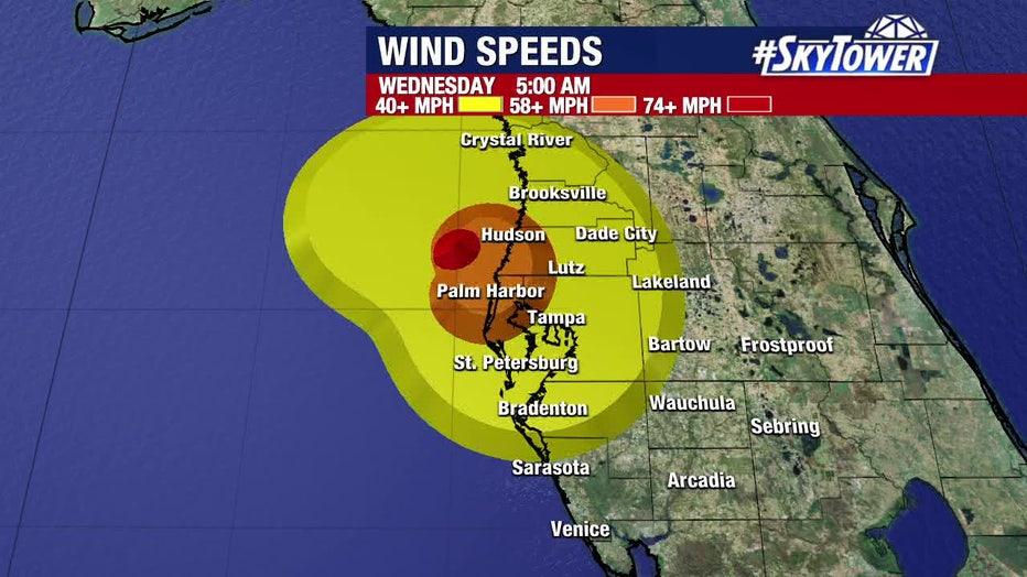 Elsa wind forecast: Wednesday 5 a.m.