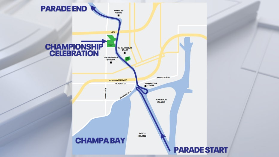 Tampa Bay Lightning boat parade route map