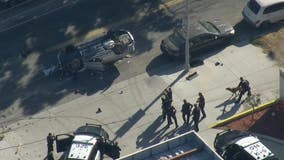 Police chase ends in rollover crash in Echo Park