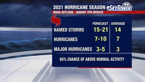 NOAA updates 2021 hurricane outlook, predicts above-average season