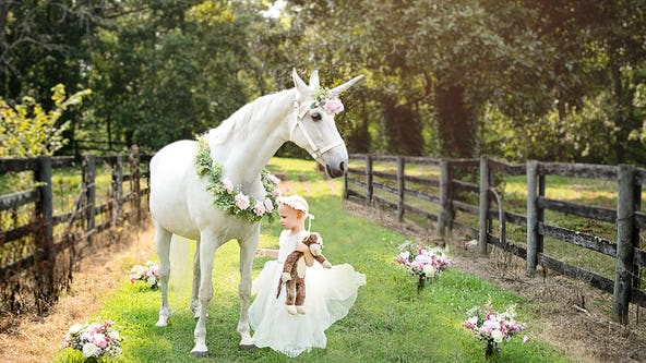 Three-year-old girl fighting brain cancer gets dream visit with magical 'unicorn'