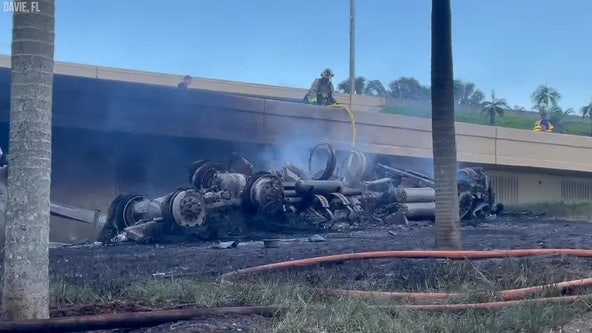 Driver killed after fuel tanker truck falls off South Florida highway ramp, explodes