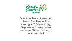 Busch Gardens closes for the rest of Wednesday due to rainy weather