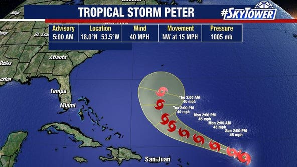 Tropical Storm Peter forms; Tropical Storm Rose likely to follow soon