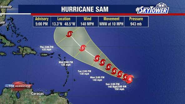 Sam intensifies to category 4 hurricane as Teresa dissapates