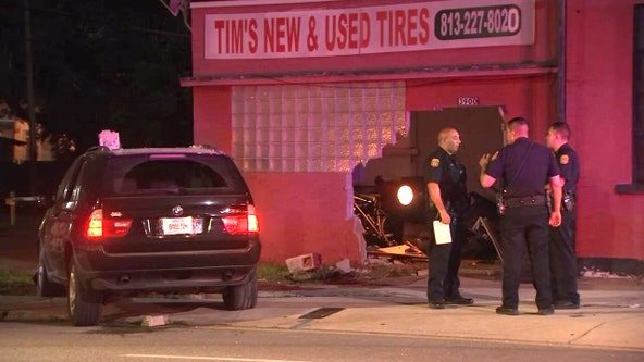 Tampa police search for driver who crashed into tire shop
