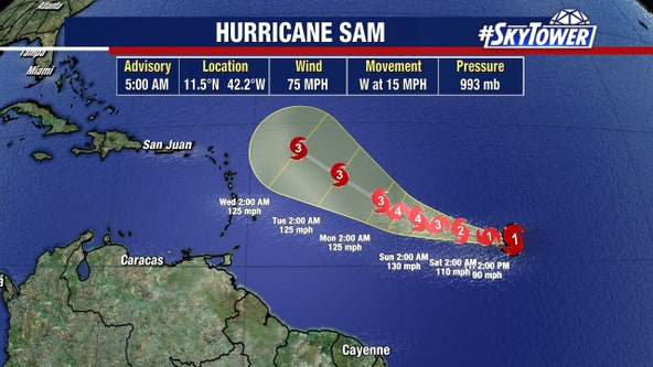 Hurricane Sam forms in Atlantic, could reach Category 4 status this weekend: NHC