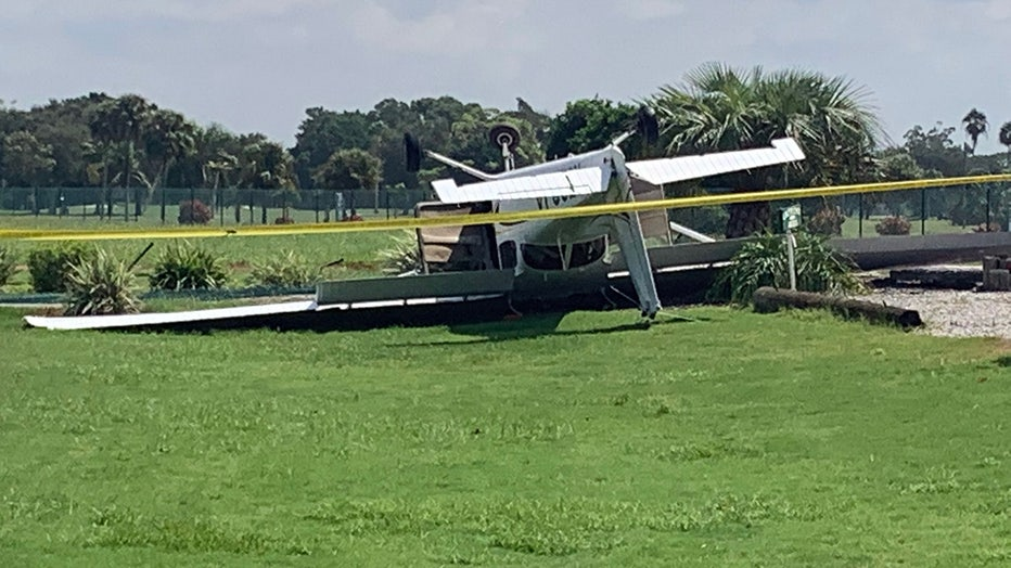 Small plane flips after emergency landing at Venice golf