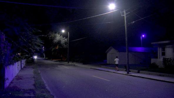 Failing street lights in Tampa emit bright purple hue