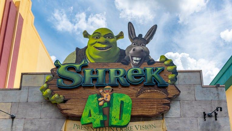 Shrek image decorating a 4D cinema at Universal Studios