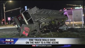 Fire truck rolls over in Tomball area
