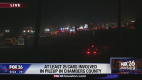 25-vehicle accident in Chambers County