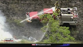 Lightning strike causes large grass fire in Dickinson