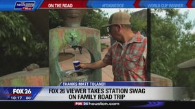 FOX 26 viewer takes station swag on their family trip