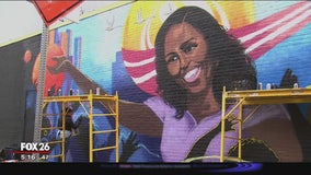 Michelle Obama mural being painted in Midtown