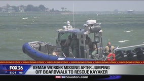 Kemah employee missing after jumping of boardwalk to rescue kayaker