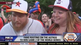 Fans rooting on the Astros to win Game 2 of the World Series