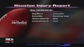 Injury report Sunday, October 6, 2019