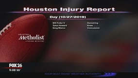 Houston Methodist Injury Report for Sunday, October 27