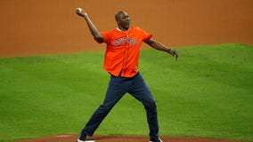 Hakeem Olajuwon throws out first pitch in Game 6 of World Series