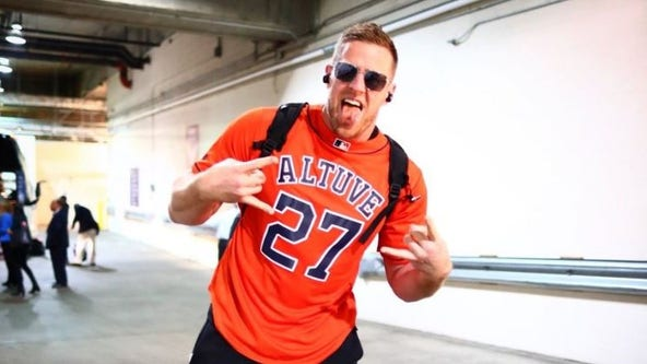 Texans' J.J. Watt representing Houston Astros with Altuve jersey