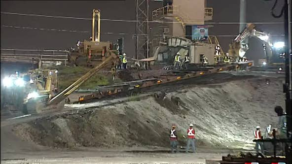 Crews clearing train derailment in northeast Houston