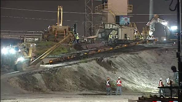 Crews clearing train derailment in northeast Houston