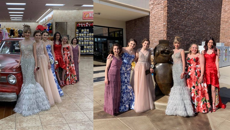 Teens pose for prom photos at Katy Buc