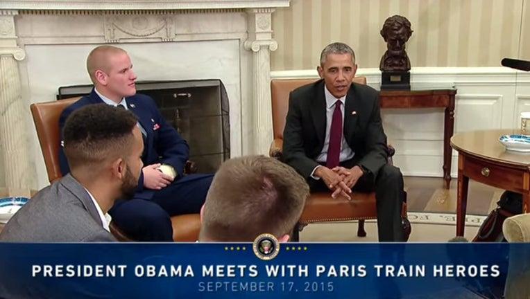 58fbd519-Spencer Stone with President Barack Obama