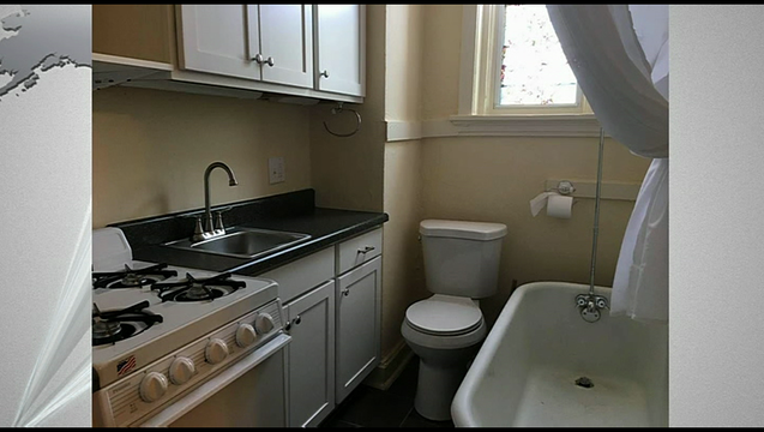 Tiny apartment features toilet next to stove | FOX 26 Houston