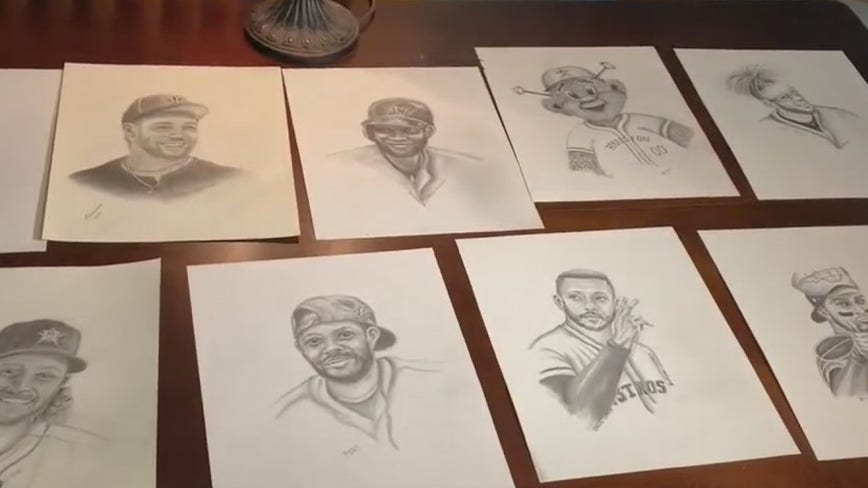 Astros super fan draws portrait of every player, gets surprise