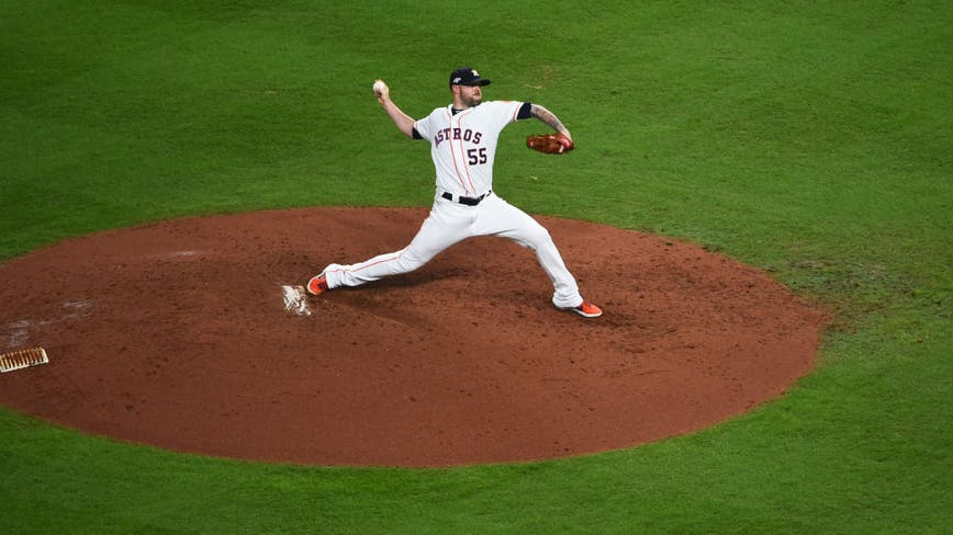 Astros' Pressly reinjures knee, good to go for World Series