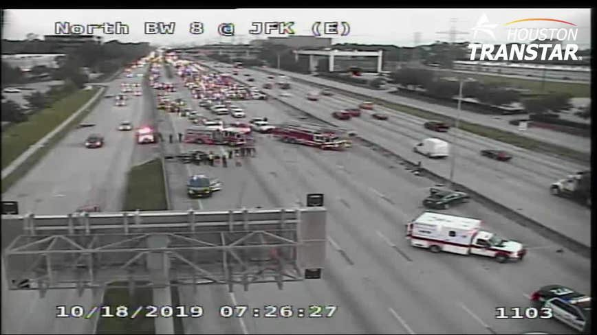 All EB mainlanes of Beltway 8 North closed at JFK Blvd due to fatal crash