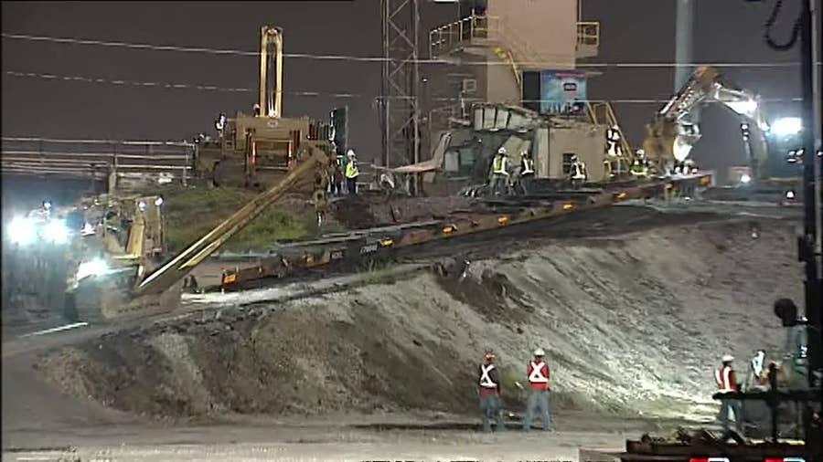 Train derailment cleared in northeast Houston