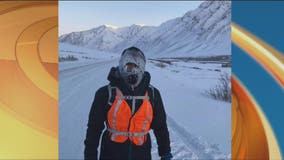 Kevin Kline runs up and over a Alaska mountain on Day 4 of Delivering Hope Run