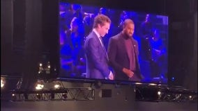 Kanye West and Joel Osteen listen to West's new music at Lakewood Church