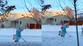 Magical work: Woman dons unicorn costume to shovel snow