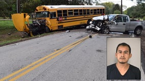 FBCSO: Pick-up truck driver fled from school bus crash, left his damaged vehicle behind
