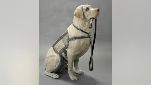Life-size sculpture dedicated to President George H.W. Bush's service dog, Sully
