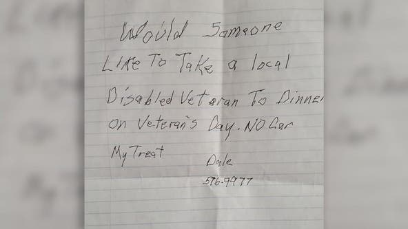 Veteran's handwritten note requesting company for Veterans Day dinner goes viral