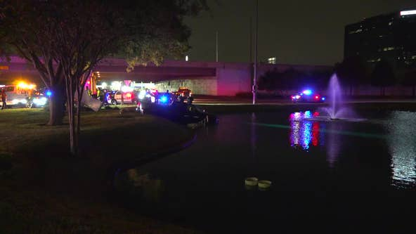Suspect crashes truck into pond during high-speed pursuit